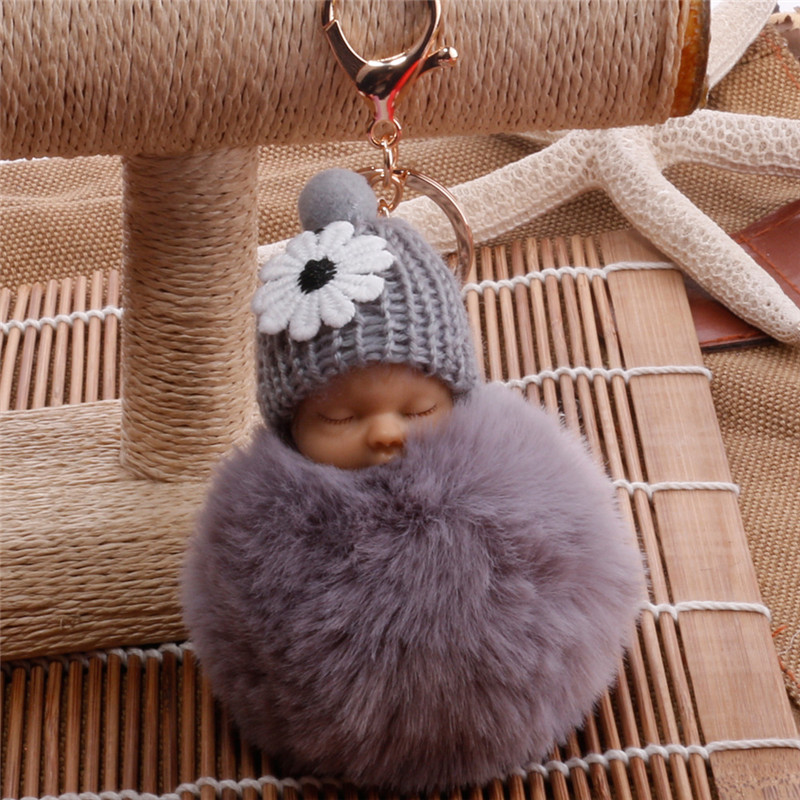 Fashion Sleeping Baby Doll Keychain Women Fluffy Pompom Key chain llaveros pom pom keyring Key Holder Bag Chaveiro Pompon Porte