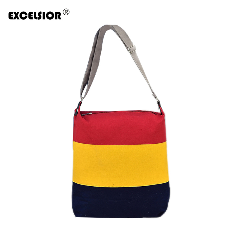 EXCELSIOR 2018 Fashion Design Women Girl Casual Messenger Bags Canvas Crossbody Single Shoulder Patchwork Striped Beach Bag