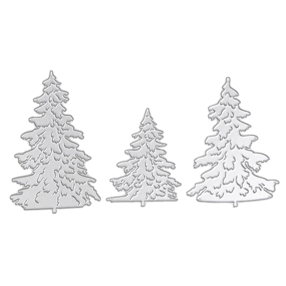 3X Unique Christmas Tree Cutting Dies for Scrapbooking Album Paper Card Diary Hand Craft Stencil Metal Cutting Die Scrapbooking