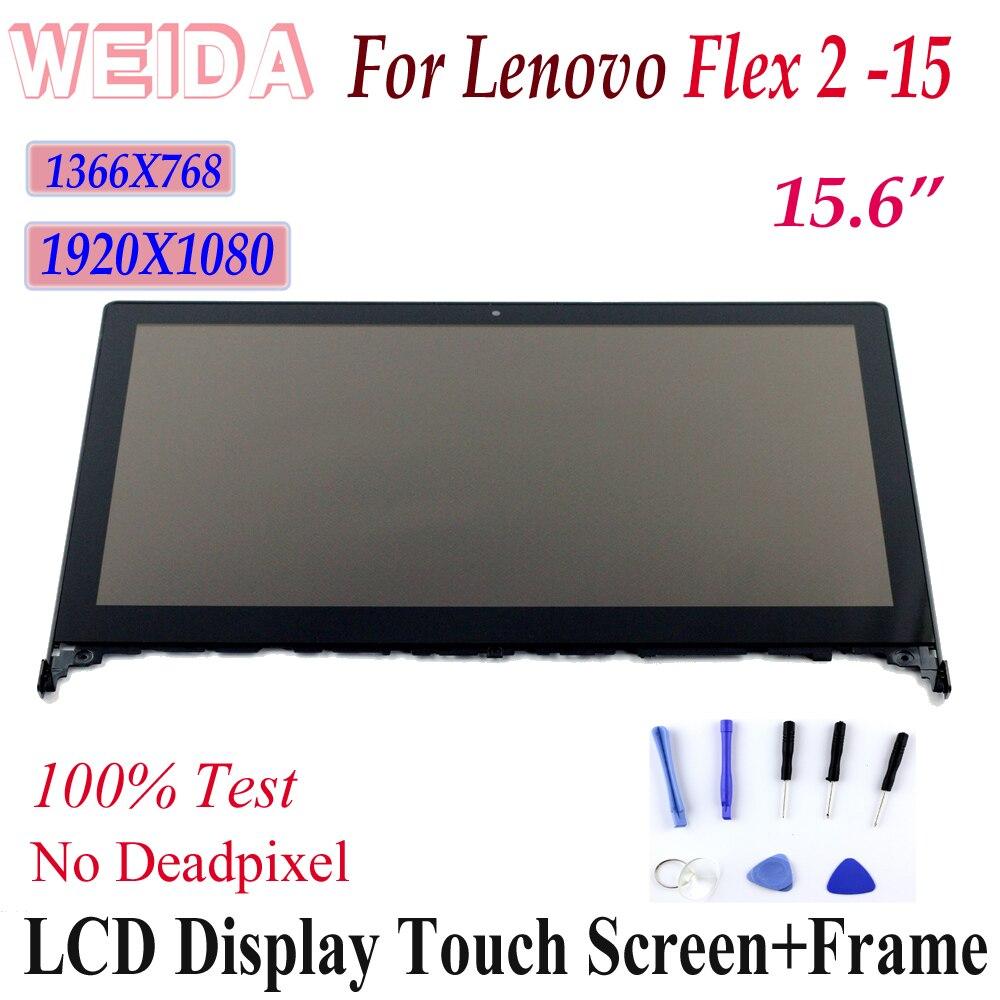 WEIDA-recambio de pantalla LCD para lenovo Flex 2-15, montaje de pantalla táctil, Marco Flex2-15, 1920x1080, 1366x768