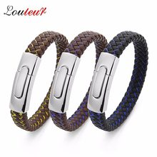 LOULEUR 12 Colors New Men Jewelry Punk Black Brown Braided Leather Bracelet for Men Stainless Steel Magnetic Clasp Bangles Gifts(China)