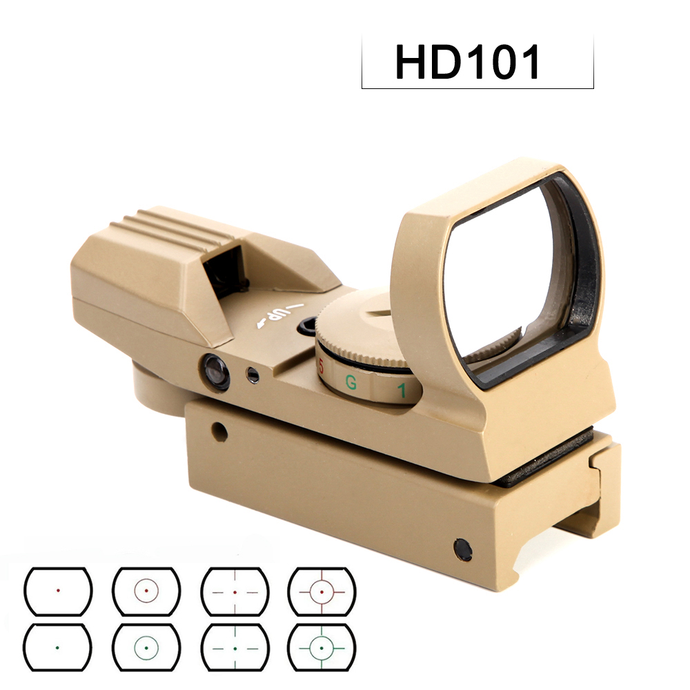 HD101 Tratical Hunting Sniper Riflescope Red Dot Sight Reflex 4 Retical Adjustable Sight With 20mm Rail Mount Holographic Sight