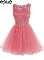vestido de festa A Line Scoop Neck Lace Appliqued Top Beaded Sleeveless Short Organza Prom Dress Prom Girls Party Gowns