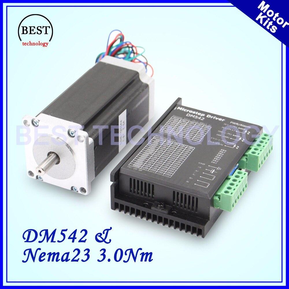 Nema 23 stepper motor kit 57x112mm motor 3 A 3.0 Nm 420Oz in & DM542 M542 1.0 4.2A DC 24 50v Microstep 256 for engraving CNC