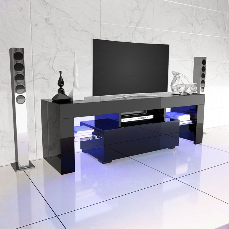 LED TV Stand High Gloss TV Cabinet Modern Living Room Furniture Dropshipping gloss high led tv stand modern led living room furniture tv cabinet