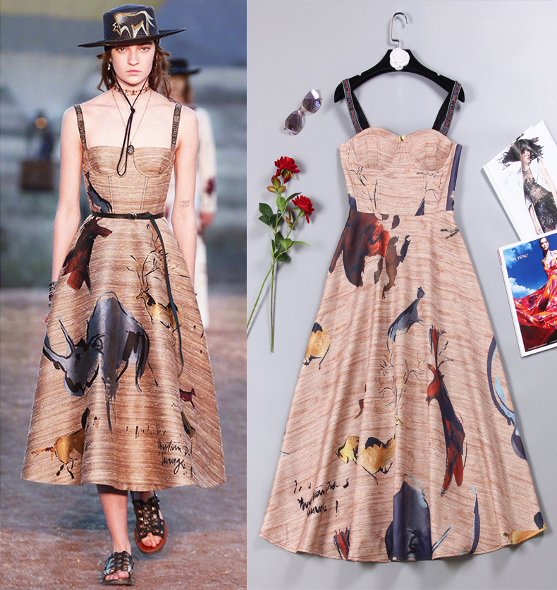 New spring and summer star show high-end women's fashion style long sling print dress