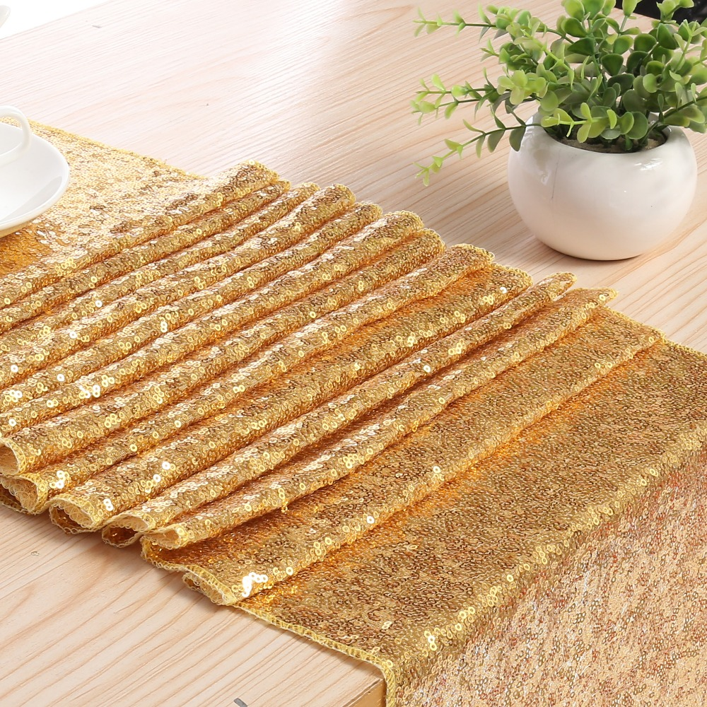 Meijuner 3MM Sequine Table Runner Glitter Gold Table Flag Party Supplies Fabric Decorations For Wedding Birthday Baby Shower