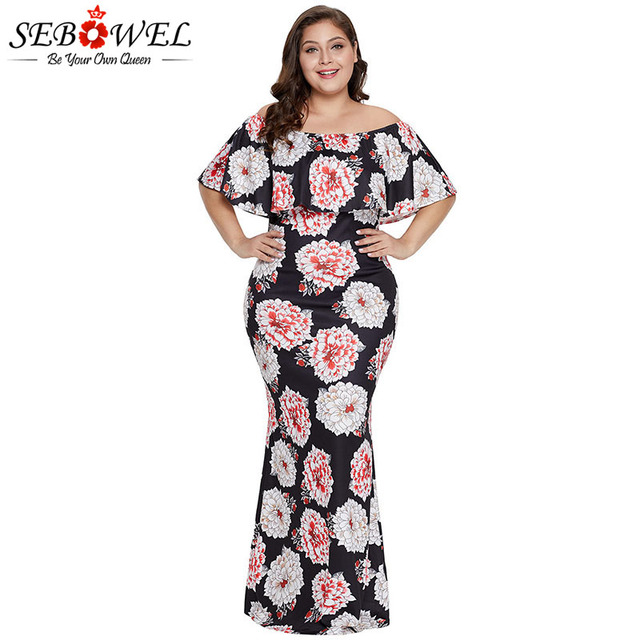 US $21.54 45% OFF|Aliexpress.com : Buy SEBOWEL Plus Size Floral Maxi Dress  Woman Summer 2019 Off Shoulder Ruffled Neckline Bodycon Retro Long Dresses  ...