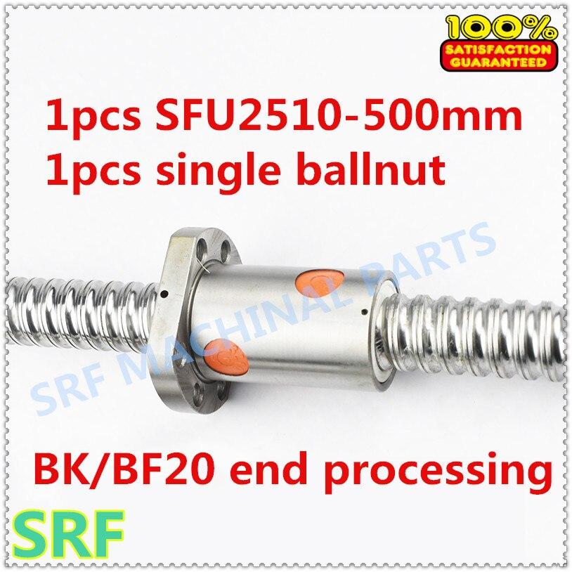 25 мм Ballscrew RM2510 комплект: 1 шт. SFU2510 проката Ballscrew L = 500 мм C7 + 1 шт. SFU2510 ballnut с BK/BF20 конец обработки для ЧПУ