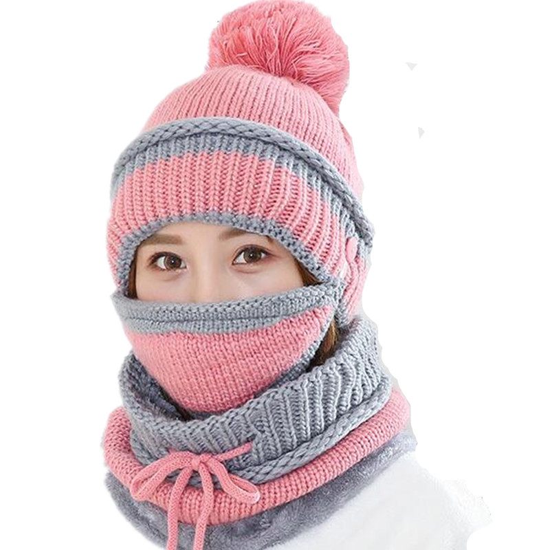 Xuyijun Balaclava Knitted hat scarf cap neck warmer Winter Hats For women   skullies     beanies   Fleece Mask Gorras Bonnet
