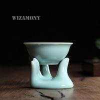 Chinese Longquan Celadon Avalokitesvara Finger Tea Filter Ceramic TeasetTea Leaf Strainers Kungfu Tea Accessories Two pieces Set