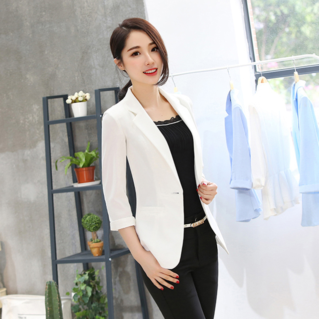 ba88d15df5 Light Blue Short Elegant Slim Women Blazer Feminino Korean Plus Size Office  Jackets Blazers Mujer Winter Coat Women P5C0928