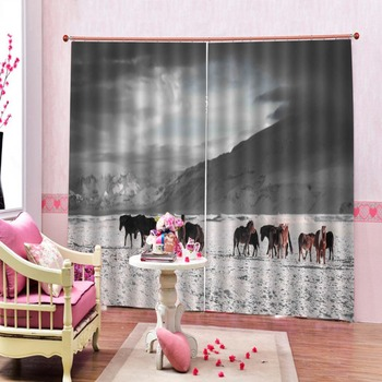 Stereoscopic Curtains Snow Horse Modern Window Curtains For Bedroom Living Room Blackout Height Modern Curtains