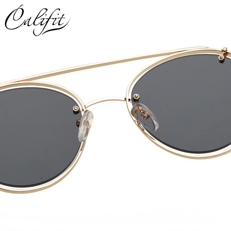 Califit Hollow oro Marcos negro espejo lente retro Gafas de sol ...