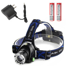 2000LM  XM-L T6 LED Headlamp Headlight Flashlight Head Light Lamp + 2 x Batteries Charger