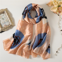 Designer brand women silk scarves fashion print soft pashmian for ladies shawls and wraps beach stoles bandana foualrd