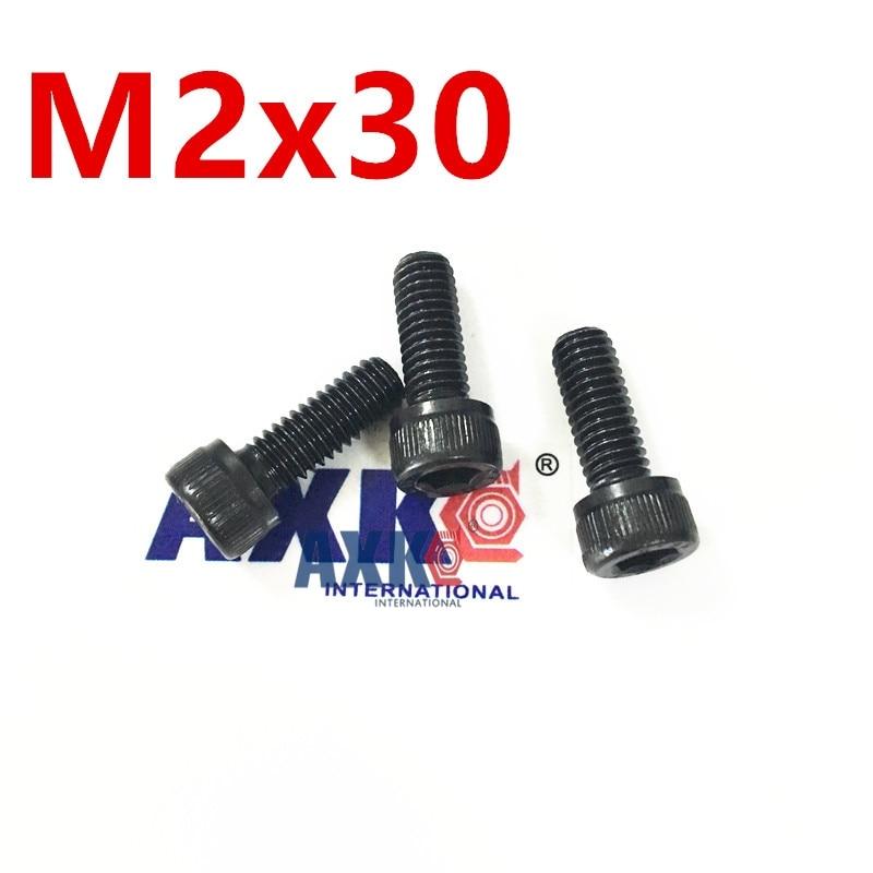 Free Shipping 100pcs/Lot Metric Thread DIN912 M2x30 mm M2*30 mm Black Grade 12.9 Alloy Steel Hex Socket Head Cap Screw Bolts 20pcs m3 6 m3 x 6mm aluminum anodized hex socket button head screw