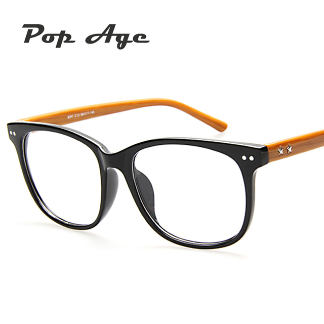 Pop Age Retro Clear lens Glasse Classic Plain glasses Plastic Frame ...