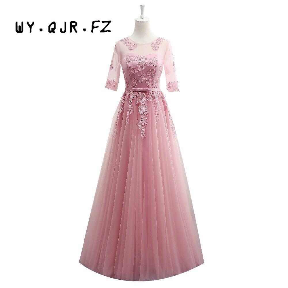 Vestidos New Dusty Pink Bridesmaid Dress Half Sleeved Lace ...