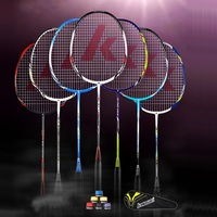 Original Kawasaki Carbon Fiber Badminton Rackets for Amateur Intermediate Senior 0.7mm String Battledore Rackets With Free Gift