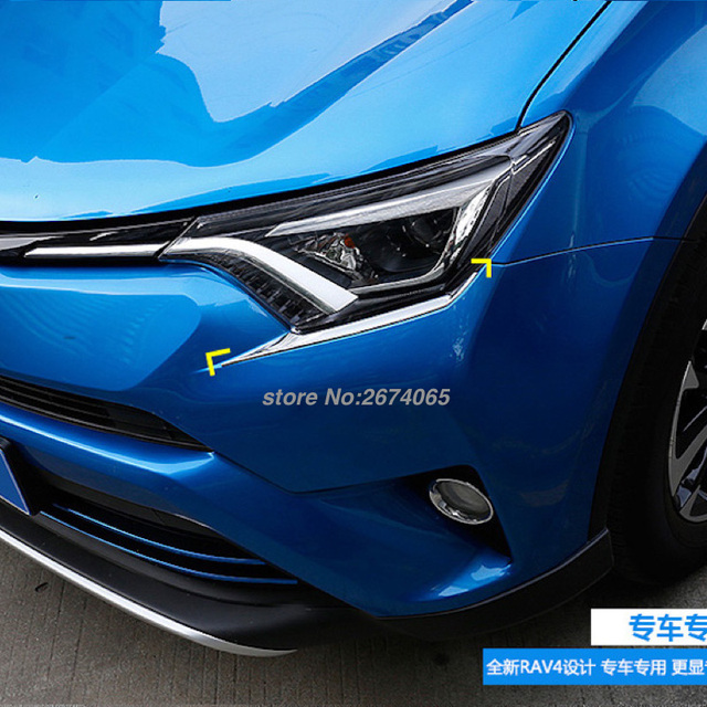 For Toyota Rav4 Front Headlights Eyebrow Decoration Head Light Lamp Cover Trim Rav 4 2016 2017 Abs Car Styling Parts Accessorie