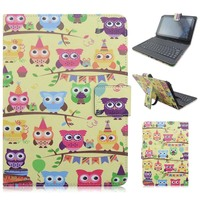 Print Cartoon Micro USB Connector Bluetooth Keyboard Stand PU Leather Protective Cover Case For 7 8