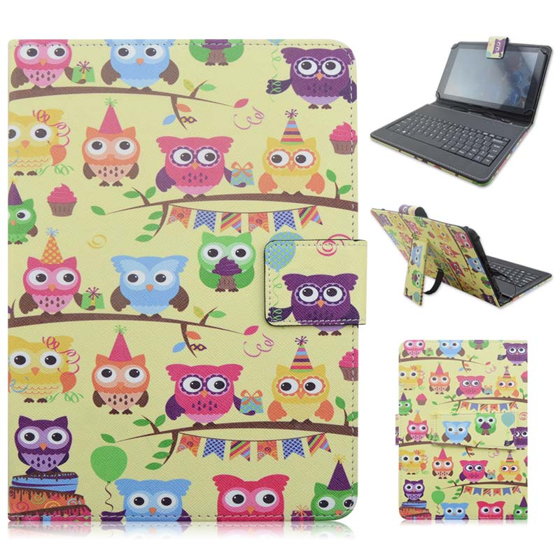 Print Cartoon Micro USB Connector Keyboard Stand PU Leather Protective Dock Cover Case For 7 - 8 Inch Universal Tablet universal micro usb wired 80 key keyboard pu leather case stand for 7 tablet pc pink