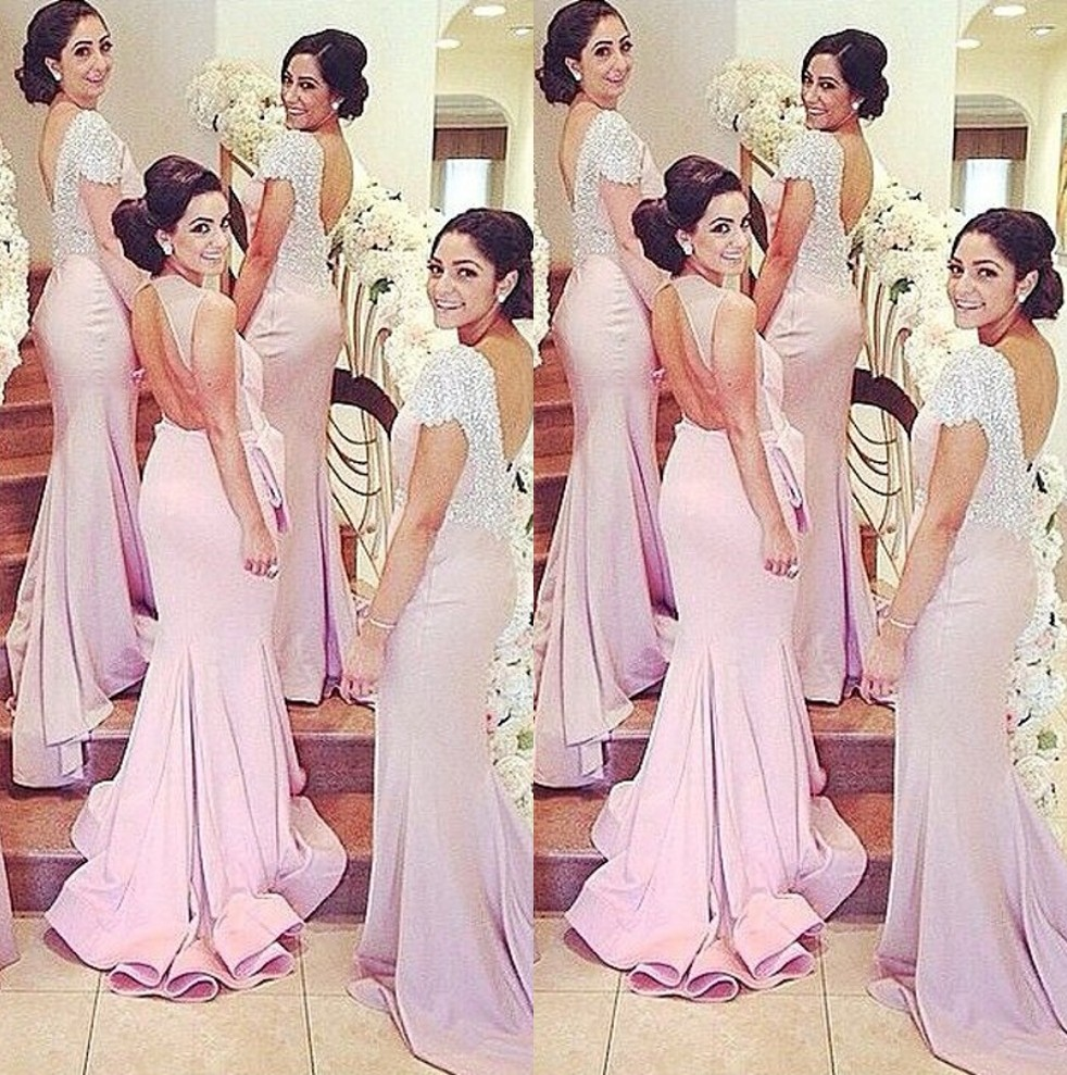 Sparkly hot short sleeves crystal bridesmaid gown peachivory sparkly hot short sleeves crystal bridesmaid gown peachivorychampagnesilverlavender mermaid bridesmaid dresses fast shipping in bridesmaid dresses from ombrellifo Images