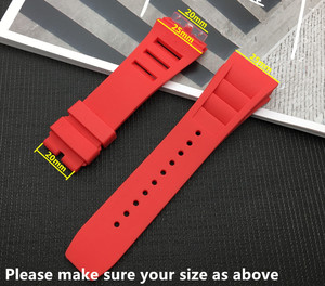 Image 3 - New 20mm Red White Black Green Gray Blue Yellow Orange Rubber Watchband  For Richard strap for RM011 Mille Bracelet watch band