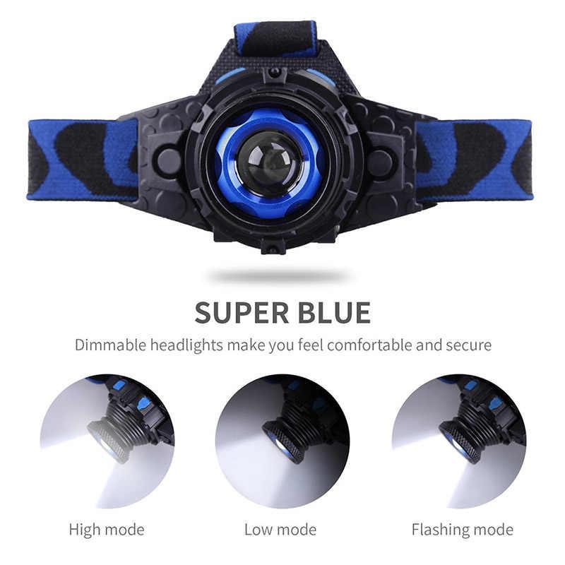 ZK20 Dropshipping Q5 faro delantero LED impermeable 3 modos Zoomable recargable construido en batería cabeza antorcha de lámparas luz