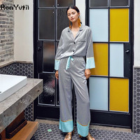 RenYvtil Brand Design Luxuriöse Striped Silk Satin Pyjamas Hosenanzug 2 Stücke Nachtwäsche frauen Freizeit Hause Nachtwäsche Pyjamas