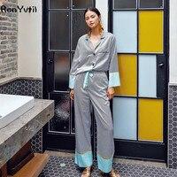 RenYvtil Brand Design Luxurious Striped Silk Satin Pajamas Pants Suit 2 Pieces Sleepwear Women's Leisure Home Nightwear Pyjamas