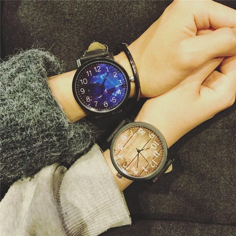 Tendencia retro casual neutral relojes 45mm dial grande estrella y madera moda styel mujeres Relojes de cuarzo muñeca creativa relojes reloj