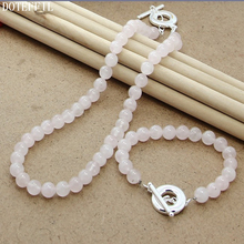 Pink 8mm Pearl Necklace Bracelet Jewelry Women 925 Sterling Silver Fashion Charm Set