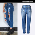 High quality Fashion Spring Women Jeans Pants Boyfriend wind hole jeans denim trousers beggar nine minutes of pants