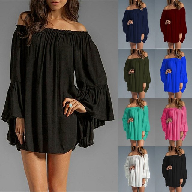 ZANZEA Women Sexy Off Shoulder 2019 Summer Blouse Long Top  Flare Sleeve Casual Loose Mini Short Vestidos Plus Size S-3XL