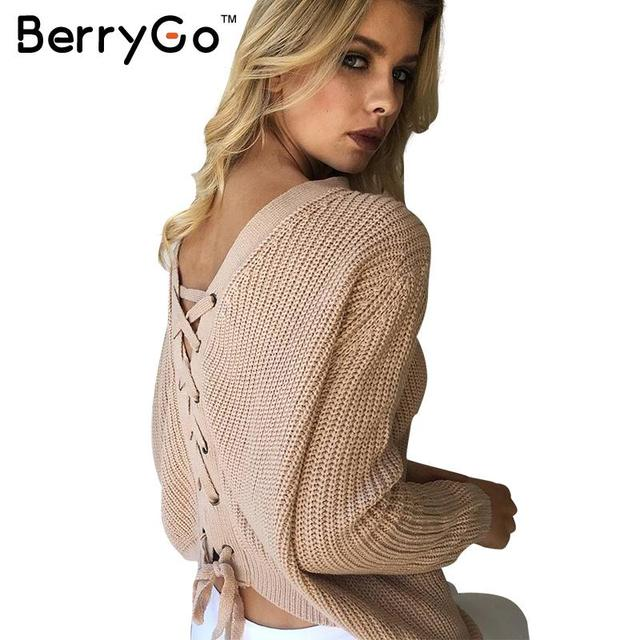 BerryGo Lace up nude thin sweater women Autumn winter loose ...