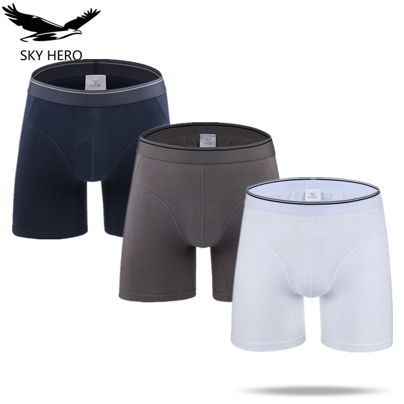 3Pcs/lot Long Boxer Sexy Men Cotton Calzoncillo Hombre Mens Boxers Marca Underwear Boxeur Man Boxershort Slip Homme Nkd Soft