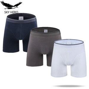 Image 1 - 3Pcs/lot Long Boxer Sexy Men Cotton Underwear Male Calzoncillo Hombre Mens Boxers Marca Boxeur Man Boxershort Slip Homme Soft