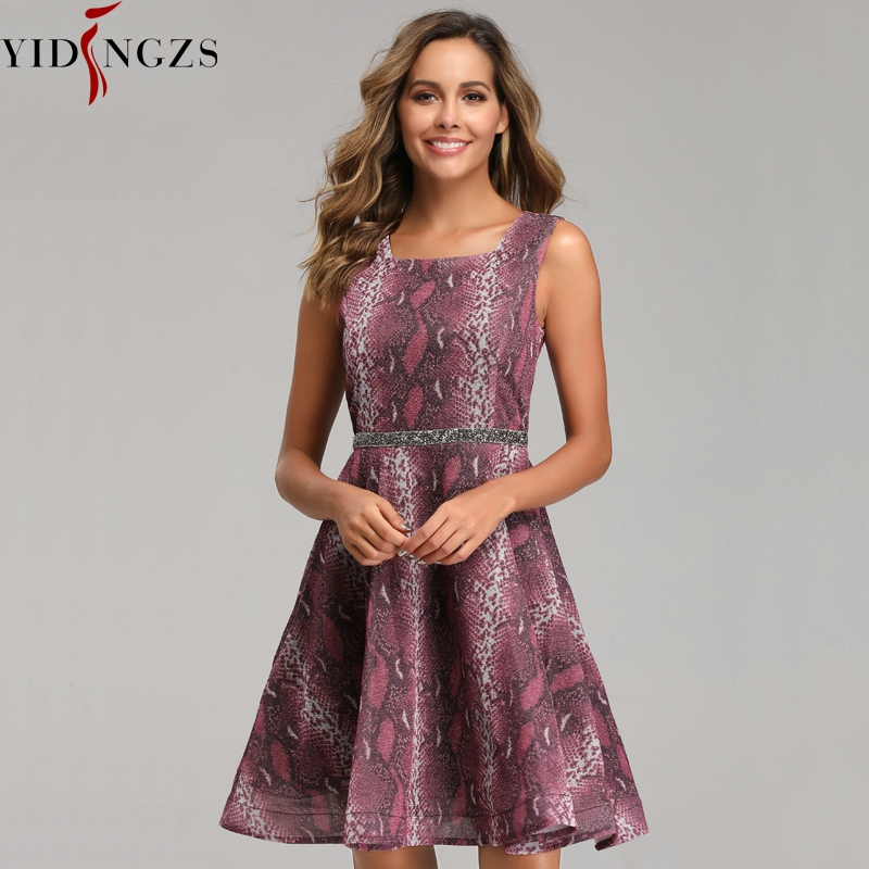 Short Beading   Prom     Dress   YIDINZGS Vintage Snake Print Formal Party   Dress