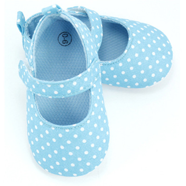Lovely Light Blue Baby Girs Polka Dots First Walkers Infants Soft Sole Crib Shoes Toddler Baby Princess Prewalker 0-18 Months