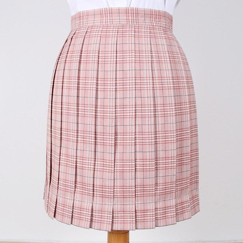 2019 Japanese Korean Version Jk School Uniform Student Uniform Pink High Waist Short Skirts Girl Pleated Half Skirt And Bow Tie