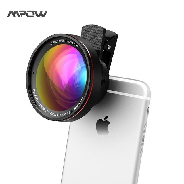 Mpow mfe6 clip-on 0.6x lente gran angular zoom de alta definición cámara w/37mm rosca 10x macro lente ojo de pez para iphone 6 s 7 plus 6