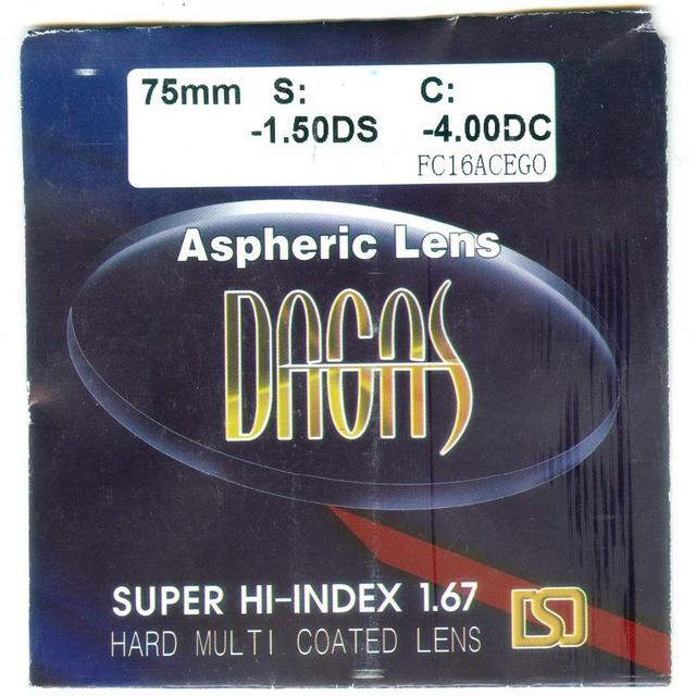 1.67 Super Hi-Index Ultra Thin Aspheric RX Spectacle Eyeglass Lenses For Eyes With Myopia