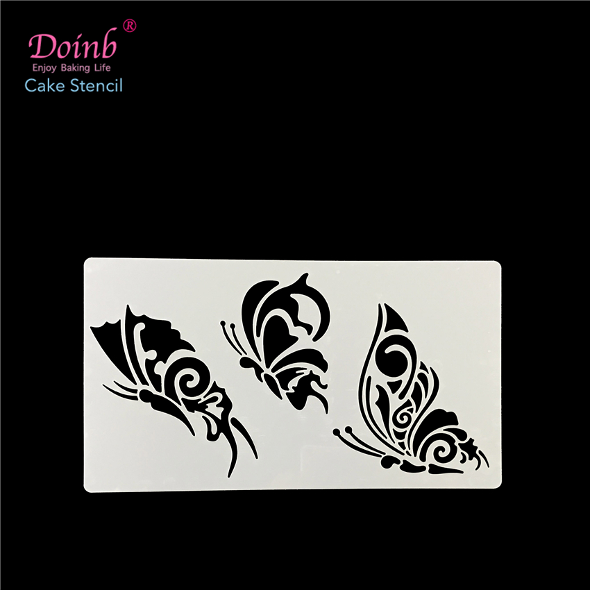 3Kind Butterfly Plastic Spray Flower Cake Stencil Mold Wall Lukisan Pad Cupcake Fondant Decoration Baking Alat Acuan FQ4084