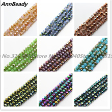 AnnBeady New Arrival 50pcs 6mm Faceted Rondelle Loose Spacer Round Austria Crystal beads For DIY Jewelry Making