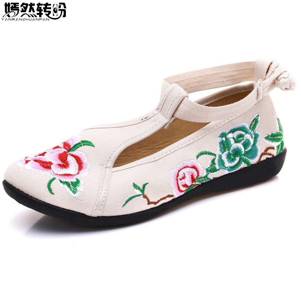 2018 New Women Flats Canvas Floral Embroidered Casual Shoes Cotton Fabric Ballets For Ladies Spring Shoes Woman Sapato Feminino wegogo canvas women casual shoes embroidery national casual flat shoe embroidered travel shoes flats sapato feminino bordado