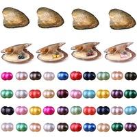 Pearls Oyster, 10PCS Twin Pearls Oyster Freshwater Cultured Pearl Oysters with Round Pearl Inside Random Color Jewelry Making