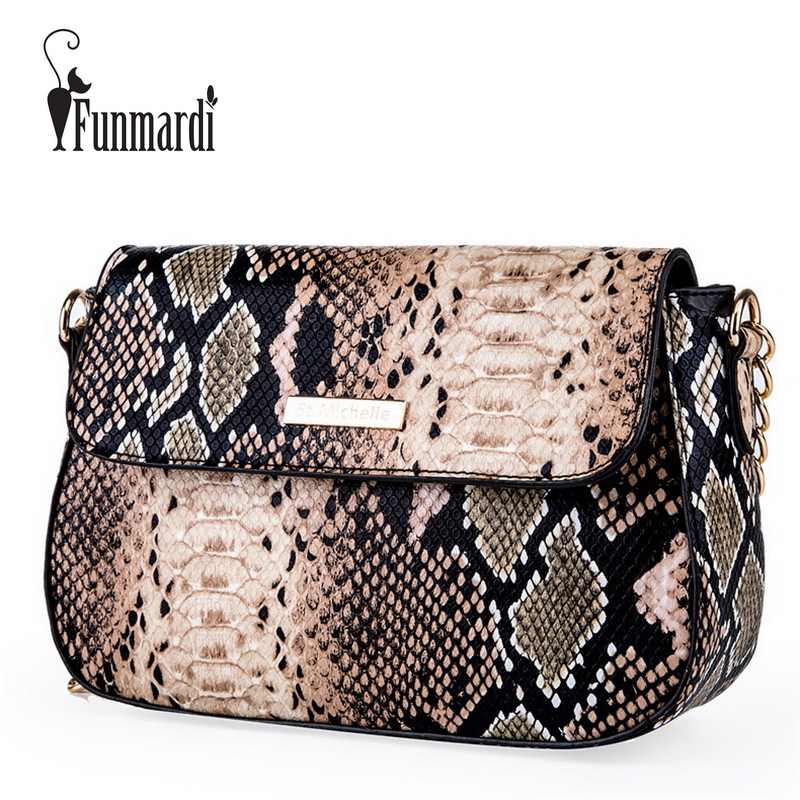 FUNMARDI Small Crossbody Bag For Women Fashion Snake PU Leather Shoulder Bag Female Chain Messenger Bag Women Brand Bag WLHB1790 metallic pu chain crossbody bag