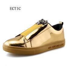 Primavera Banda Elástica cabeza de león de oro Pisos Casual comodidad Respirable de Los Hombres de Cuero Pantent Caminando zapatillas de Skate Zapatos Hombre